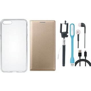 Oppo A83 Premium Leather Cover with Silicon Back Cover, Selfie Stick, Earphones, USB LED Light and USB Cable by Vivacious ( Gold )