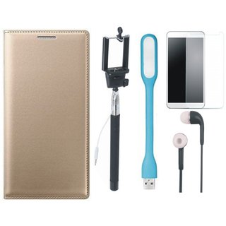 Vivo V9 Leather Flip Cover with Free Selfie Stick, Tempered Glass, Earphones and LED Light (Gold ) by Vivacious
