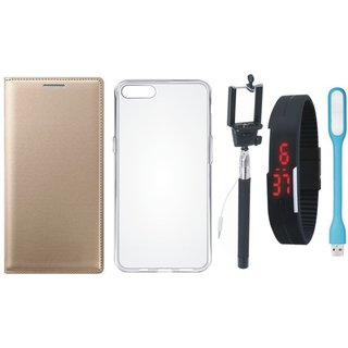 Vivo V9 Cover with Silicon Back Cover, Selfie Stick, Digtal Watch and USB LED Light (Gold ) by Vivacious