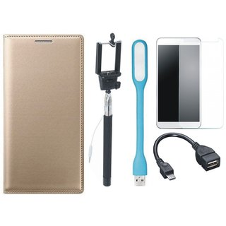 Samsung J7 NXT Flip Cover with Free Selfie Stick, Tempered Glass, LED Light and OTG Cable by Vivacious ( Gold )