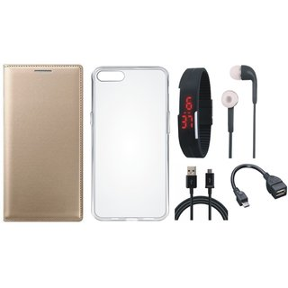 Vivo V9 Flip Cover with Silicon Back Cover, Digital Watch, Earphones, OTG Cable and USB Cable by Vivacious ( Gold )