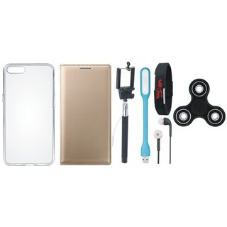 Oppo A83 Stylish Leather Cover with Spinner, Silicon Back Cover, Selfie Stick, Digtal Watch, Earphones and USB LED Light by Vivacious ( Gold )