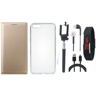 Vivo V9 Flip Cover with Silicon Back Cover, Selfie Stick, Digtal Watch, Earphones and USB Cable by Vivacious ( Gold )