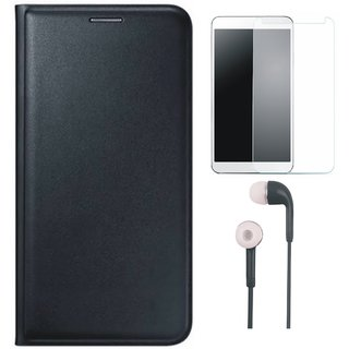 Samsung J7 NXT Leather Flip Cover with Earphones and Tempered Glass (Black) by Vivacious (Black) by Vivacious