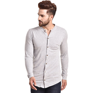 PAUSE Silver Solid Cotton Round Neck Slim Fit Full Sleeve Men's Knitted Shirt