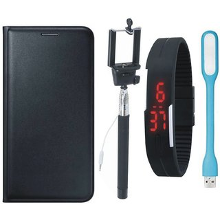 Vivo V9 Stylish Leather Cover with Selfie Stick, Digtal Watch and USB LED Light by Vivacious ( Black )