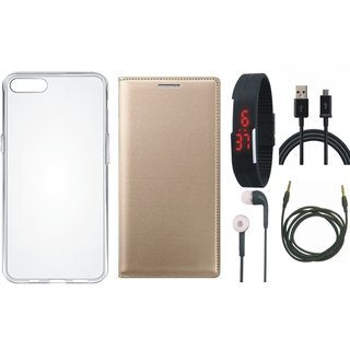 Vivo V9 Premium Leather Cover with Silicon Back Cover, Digital Watch, Earphones, USB Cable and AUX Cable by Vivacious ( Gold )