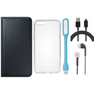 Vivo V9 Flip Cover with Silicon Back Cover, Earphones, USB LED Light and USB Cable (Black) by Vivacious