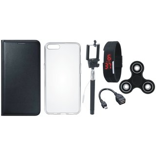 Vivo V9 Premium Leather Cover with Spinner, Silicon Back Cover, Selfie Stick, Digtal Watch and OTG Cable by Vivacious ( Black )