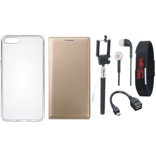 Vivo V9 Flip Cover with Silicon Back Cover, Selfie Stick, Digtal Watch, Earphones and OTG Cable by Vivacious ( Gold )