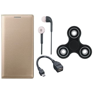 Samsung J7 NXT Cover with Spinner, Earphones and OTG Cable (Gold ) by Vivacious
