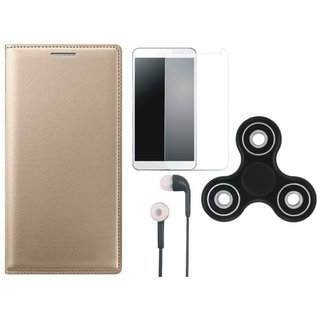 Samsung J7 NXT Flip Cover with Spinner, Tempered Glass and Earphones by Vivacious ( Gold )