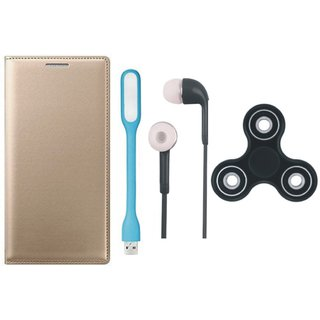 Vivo V9 Premium Leather Cover with Spinner, Earphones and USB LED Light (Gold ) by Vivacious