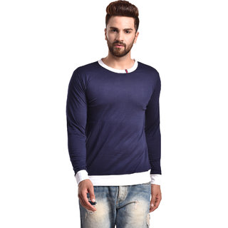 PAUSE Navy Solid Cotton Round Neck Slim Fit Full Sleeve Men's Knitted T-Shirt