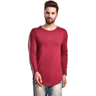 PAUSE Maroon Solid Cotton Round Neck Slim Fit Full Sleeve Men's Knitted T-Shirt