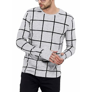 PAUSE Grey Check Cotton Round Neck Slim Fit Full Sleeve Men's Knitted T-Shirt