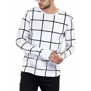 PAUSE White Check Cotton Round Neck Slim Fit Full Sleeve Men's Knitted T-Shirt