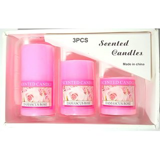 Pillar Candle in Rose Fragrance (Set of 3 Piece)