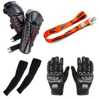 Spidy Moto KTM Strap Key Chain, 2 Arm Sleeves, 1 Pair Pro-Biker Hand Gloves, 1 Pair Knee Guard Combo for Biker/Rider
