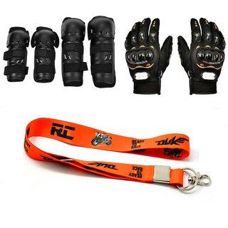 Spidy Moto Biker Combo Of Knee Pads, Elbow Pads, Pro-Biker Hand Gloves, KTM Key Chain