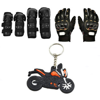 Spidy Moto Biker Combo Of Knee Pads, Elbow Pads, Pro-Biker Hand Gloves, Duke Logo KTM Key Chain