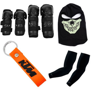 Spidy Moto Brand New Biker Combo Of Knee Pads, Elbow Pads, KTM Key Chain, Arm Sleeves, Balaclava Face Mask