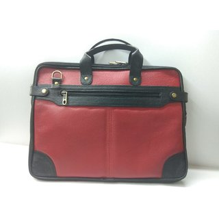 Office Laptop / Briefcase Type Pure Red  Brown Leather Bag  100 Pure Leather