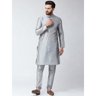 ABH LIFESTYLE Men's Silk Blend Kurta Pyjama set (Grey)