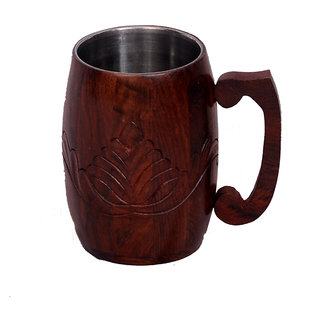 Phirk Craft Wooden  Steel Mug For Juice  Water and Beer