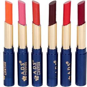 ADS Waterproof Organic Moisturzing Matte  Shiny Rich Lipstick (Pack of 6)