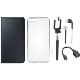 Samsung J4 Leather Flip Cover with Silicon Back Cover, Selfie Stick, Earphones and OTG Cable (Black) by Vivacious