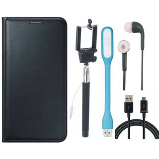 Samsung J2 Core Leather Flip Cover with Selfie Stick, Earphones, USB LED Light and USB Cable (Black) by Vivacious