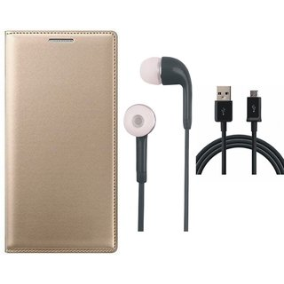 Samsung J6 Flip Cover with Earphones and USB Cable by Vivacious ( Gold )