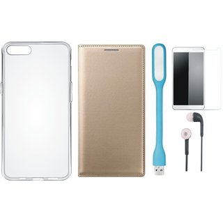 Samsung J8 Premium Leather Cover with Silicon Back Cover, Tempered Glass, Earphones and USB LED Light by Vivacious ( Gold )