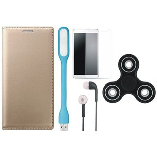 Samsung J6 Stylish Leather Cover with Spinner, Tempered Glass, Earphones and USB LED Light by Vivacious ( Gold )
