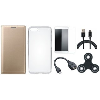 Samsung J6 Flip Cover with Spinner, Silicon Back Cover, Tempered Glass, OTG Cable and USB Cable by Vivacious ( Gold )