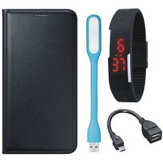Samsung J2 Core Leather Flip Cover with Digital Watch, OTG Cable and USB LED Light (Black) by Vivacious