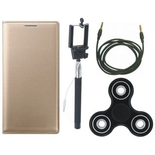 Samsung J4 Premium Leather Cover with Spinner, Selfie Stick and AUX Cable (Gold ) by Vivacious