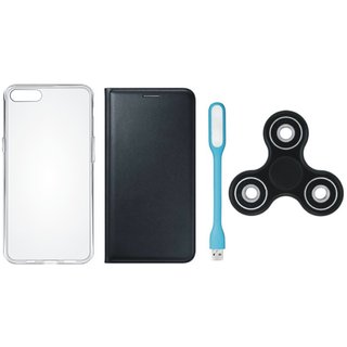 Samsung J8 Cover with Spinner, Silicon Back Cover, USB LED Light (Black) by Vivacious