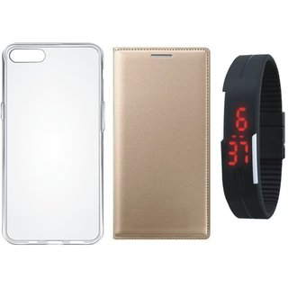 Samsung J2 Core Leather Flip Cover with Silicon Back Cover, Digital Watch (Gold ) by Vivacious