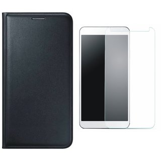 Samsung J8 Stylish Leather Cover with Tempered Glass by Vivacious ( Black )