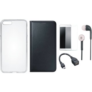 Samsung J6 Flip Cover with Silicon Back Cover, Tempered Glass, Earphones and OTG Cable (Black) by Vivacious
