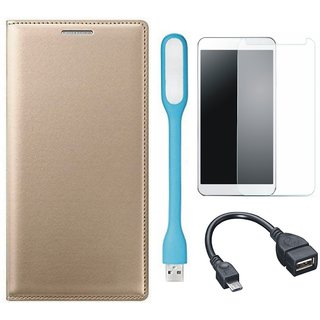 Samsung J6 Premium Leather Cover with Tempered Glass, USB LED Light and OTG Cable by Vivacious ( Gold )