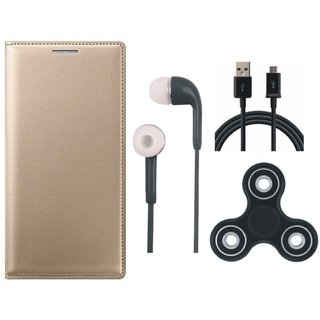 Samsung J2 Core Premium Leather Cover with Spinner, Earphones and USB Cable (Gold ) by Vivacious