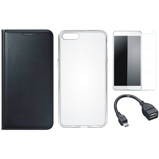 Samsung J2 Core Leather Flip Cover with Silicon Back Cover, Tempered Glass and OTG Cable (Black) by Vivacious