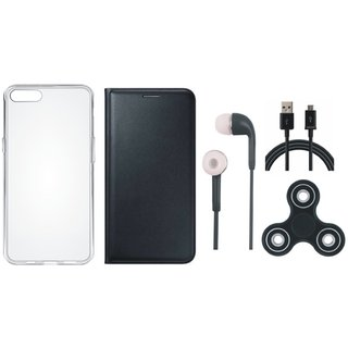 Samsung J2 Core Premium Leather Cover with Spinner, Silicon Back Cover, Earphones and USB Cable (Black) by Vivacious