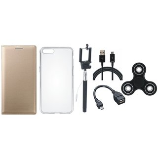 Samsung J6 Flip Cover with Spinner, Silicon Back Cover, Selfie Stick, OTG Cable and USB Cable by Vivacious ( Gold )