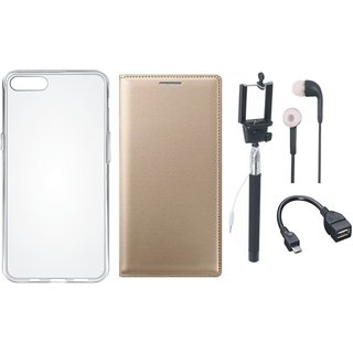 Samsung J8 Premium Leather Cover with Silicon Back Cover, Selfie Stick, Earphones and OTG Cable by Vivacious ( Gold )