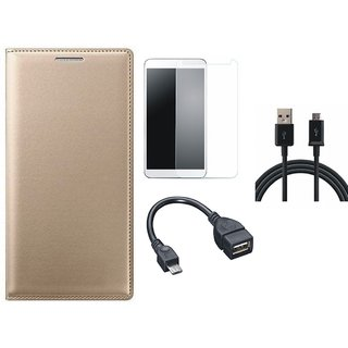 Samsung J6 Premium Leather Cover with Tempered Glass, OTG Cable and USB Cable by Vivacious ( Gold )