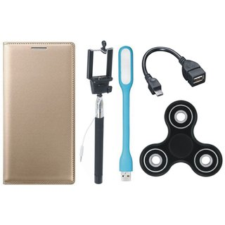 Samsung J6 Stylish Leather Cover with Spinner, Selfie Stick, LED Light and OTG Cable by Vivacious ( Gold )
